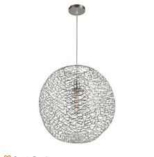 Trans Globe MDN-1413 PC Orbweave 1-Light 31 in. Chrome Indoor Elongated Pendant