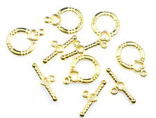 GOLD PLATED HEART ROUND TOGGLE CLASPS 5 SETS