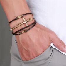 Leather Cross Bracelets Bangles Adjustable Bohemia Chain Bracelet Men Jewelry QW