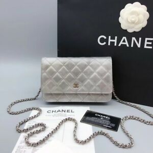 chanel wallet on chain Silver Calf