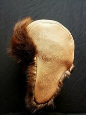 Mens Leather and Canadian Beaver Fur Trapper Hat
