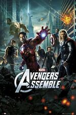 AVENGERS MOVIE POSTER ~ 27x39 ASSEMBLE Iron Man Thor Captain America Hulk Hawkey