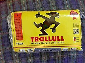 Trollull 8 Pads Premium Steel Wool Various Grades Wire Wool