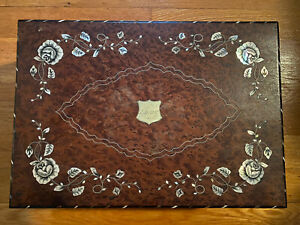 Antique Victorian Lap Desk with Mother of Pearl and Brass Inlay/Accents