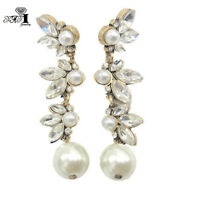 White Glass Crystal Ear Drop Dangle Stud Ancient Gold long Tassels Earrings