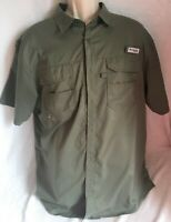 Columbia Shirt L Blood & Guts Omni-Shield Fishing Army Green Short Sleeve