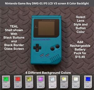 Nintendo Game Boy DMG-01 with IPS LCD V3 screen 8 Color Backlight - TEAL