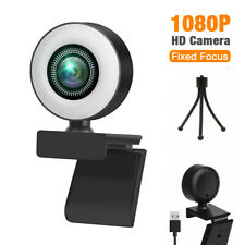 1080P Full HD USB Web Camera Webcam with LED Ring Light & Mic for Video Calling
