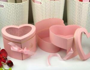Premium Quality Heart Shape Flower Box, Floral Gift Box, 2 Tier, with Lid, Pink