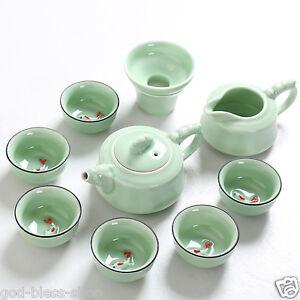 Chinese porcelain tea set fish relief ceramic gaiwan kungfu tea pot pitcher cups