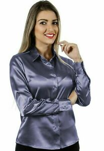 Women Satin Casual Office Shirt Button Down Solid Collar Blouse Top - Gray