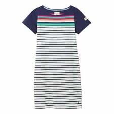 Joules Riviera Short Sleeve Jersey Dress (Blue Border Stripe)