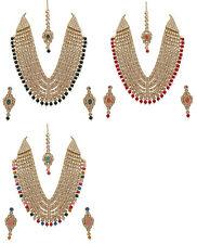 Jwellmart Indian Wedding Partywear Gold Polish Color Beads Kundan Necklace Set