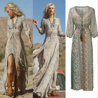 Women Summer Boho Chiffon Party Evening Beach Dresses Long Maxi Sundress Dress