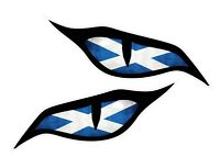 Pair Of Evil Eyes Scotland Scottish Flag car motorbike helmet sticker 70x30mm ea