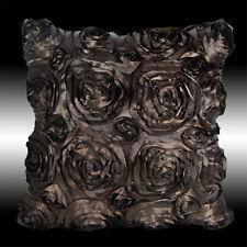 CHOCOLATE 3D RAISED RIBBON ROSE FAUX SILK CUSHION COVER THROW PILLOW CASE 16