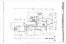 Frank Lloyd Wright Prairie Style home, architectural drawings, Dana House