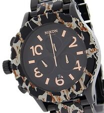 Nixon Men's Black Dial Black/Leopard Band Watch A0371153 New