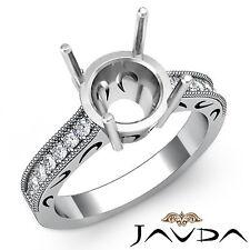 Round Diamond Engagement Milgrain Filigree Ring Platinum 950 Semi Mount 0.25ct
