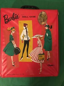 Vintage Barbie Doll Case Red by Ponytail 1961 With Barbie Fan Club Sticker/decal