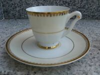 TASSE à CAFE Porcelaine LIMOGES Belle BORD PASTEL+OR