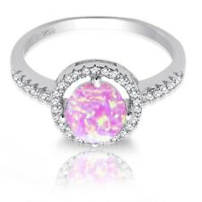 Pink Opal Simulated Diamond Halo Sterling Silver Engagement Cocktail Ring