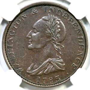 1783 B-5 NGC XF 40 Button Draped Bust Washington & Independence Colonial Coin