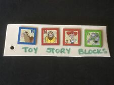 Disney Toy Story Blocks.  Set of 4 Pins.  See Photos.