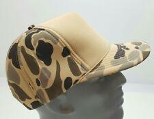Vintage Nissin Blank Foam Snapback Trucker Hat Brown Beige Camo New Old Stock