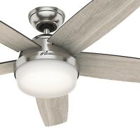 Hunter 54 inch Brushed Nickel Contemporary Ceiling Fan w/ LED Light & Remote