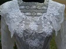 Gorgeous Edwardian Antique Hand Embroidered White Cotton Lawn Lace Tea Dress