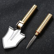 3in1 Brass Folding Shovel Pocket Knife Outdoor Portable Survival Tool + Compass