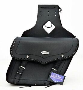 MOTORBIKE SADDLE BAGS BRAND NEW, QUALITY SPLIT LEATHER BLACK, MODEL PL2652
