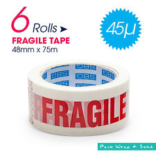 6 x Rolls Fragile Warning Packaging Packing Tape 75m x 48mm x 45U - RED WHITE