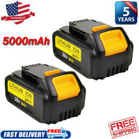 2X DCB205-2 20 Volt Max XR 5.0AH Lithium Battery For DeWalt DCB206 DCB205 DCB200