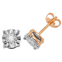 Diamond Solitaire Earrings Yellow Gold 0.31ct Illusion Set Appraisal Certificate