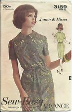 Advance 3189 sewing pattern 60's DRESS tie belt front buttons sew misses' 12/32