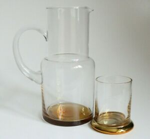 Rare Anthropologie Clear and Gold Glass Jug / Pitcher with a Drinking Glass 23cm
