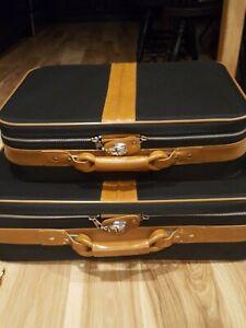 Vtg Ambassador Suitcase Set Black Cognac Lightweight Nylon Lock Key Luggage Wow