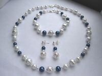 Glass Pearl & Silver Plated Filigree Bead Necklace, Bracelet & Earring.