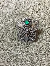 Vintage Angel W/Green Gemstone Pin- She Is Holding A Rose