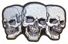 TRIPLE SKULL DELUXE EMBROIDERED PATCH 6443 iron on skulls biker patches NEW