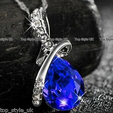 Sapphire Blue Tear drop Crystal Diamond Necklace Pendant Gift  Present for Girl