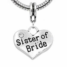 Sister of the Bride Heart Charm European Bead Compatible for Most European Snake