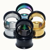 Stainless Steel Single Flared Flesh Tunnels with Silicone O-ring Ear Plug Gauges