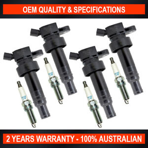 4x Swan Ignition Coil & NGK Spark Plugs for Hyundai Veloster SR Turbo 1.6L T-GDi