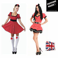 Adult Minnie Mouse Fancy Dress Costume  Womens ladies S M L XL
