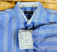 Bogari Button Front Shirt Mens 2XL Classic Fit Long Sleeve Blue Plaid Flip Cuff