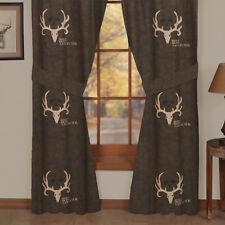 """Bone Collector Curtains Brown Tan 42"""" x 84"""" Deer Skull Antlers Michael Waddell"""