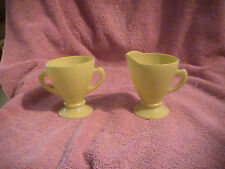 Vintage Hazel Atlas Ovide Sugar Bowl Creamer Green Lime Modern Tone Footed